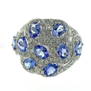 Gold Tanzanite and Diamond Ring 14kt